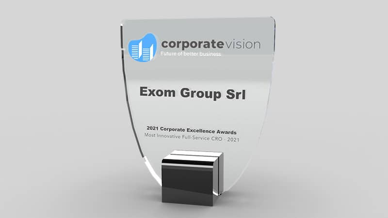 Picture of the Corporate Excellence Award as Most Innovative Full-Service CRO for Exom Group